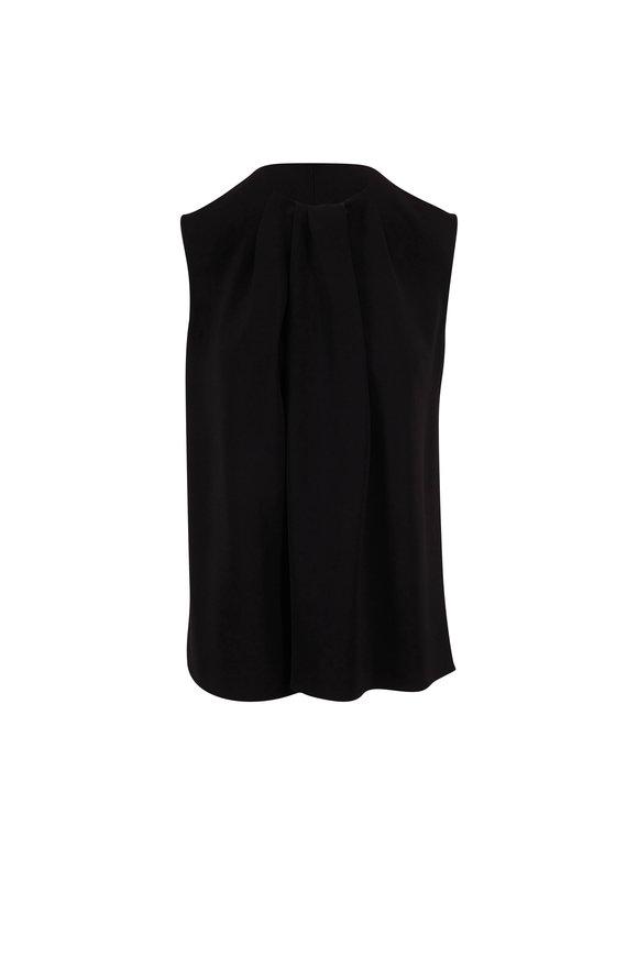 The Row Shira Black Front Drape Sleeveless Top