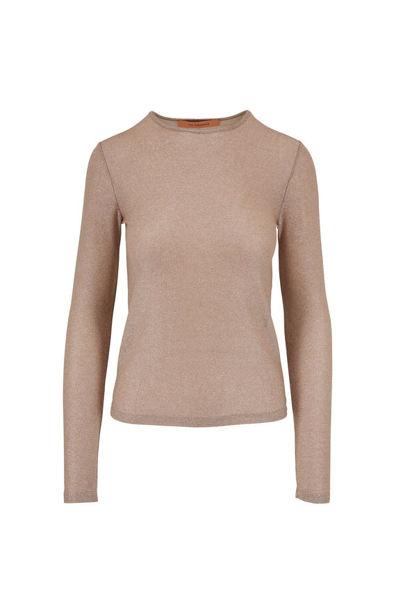 Beige Lurex Long Sleeve Top