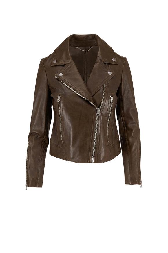 Rag & Bone Mack Olive Leather Moto Jacket