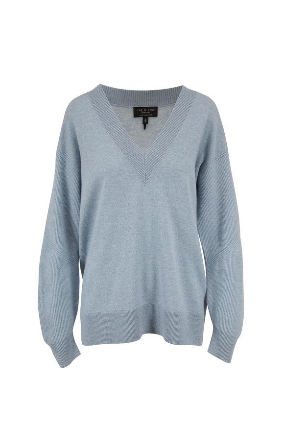 Rag & Bone Logan Seafoam Blue Cashmere V-Neck Sweater