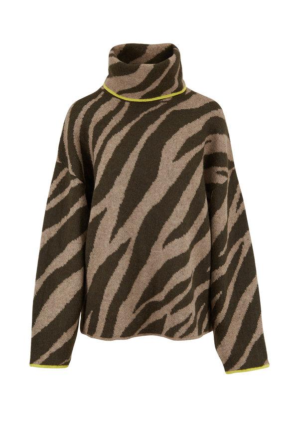 Rag & Bone Kiki Army & Light Army Green Printed Sweater