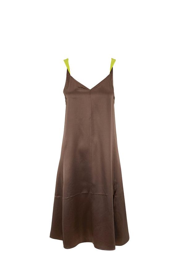 Rag & Bone Colette Gray Moss Satin Sleeveless Slip Dress