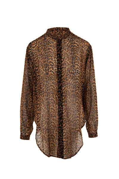 Saint Laurent - Leopard Print Wool Button Down Shirt
