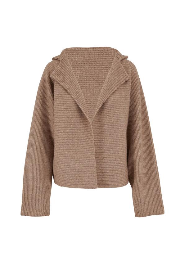 Mandkhai Light Brown Cashmere Ribbed Kimono Jacket