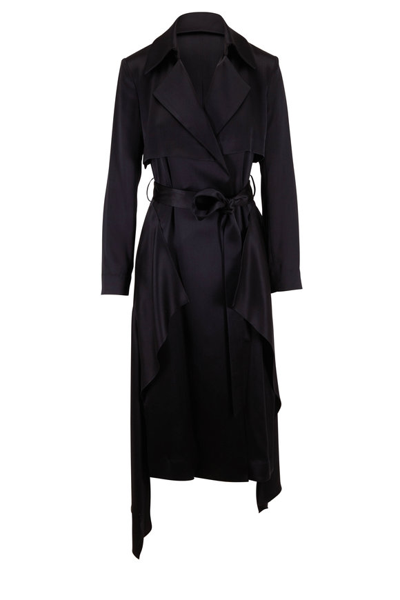 Cushnie Black Satin Trench Belted Wrap Dress
