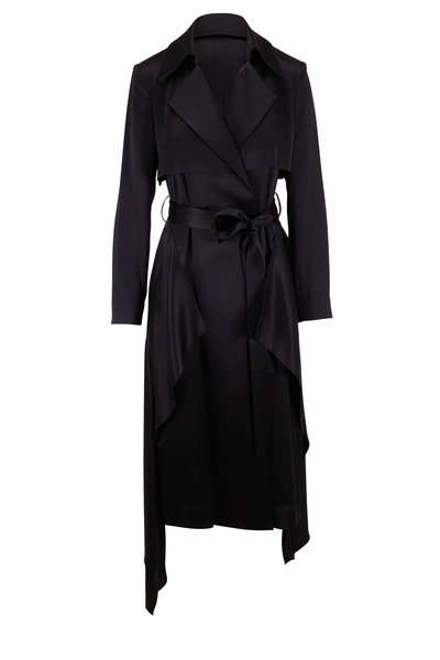 Cushnie - Black Satin Trench Belted Wrap Dress
