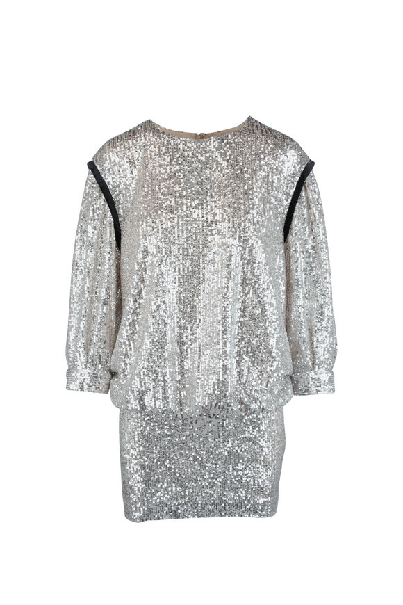 7 For All Mankind Silver Sequin Blouson Dress
