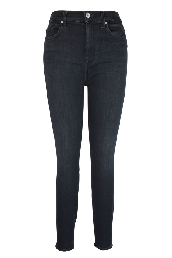7 For All Mankind Black High Waist Ankle Skinny Jean