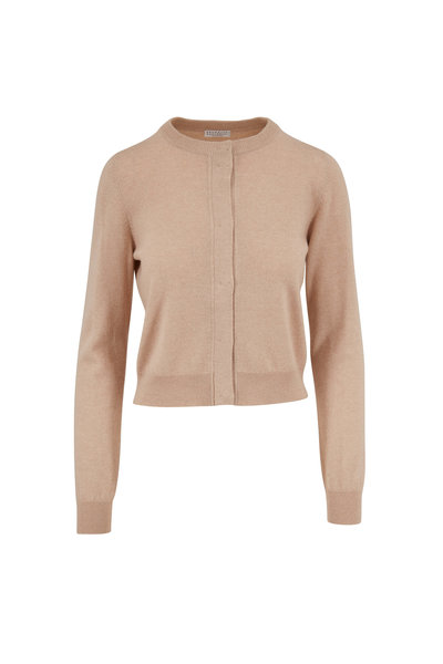Brunello Cucinelli - Almond Two Ply Cashmere Cropped Cardigan