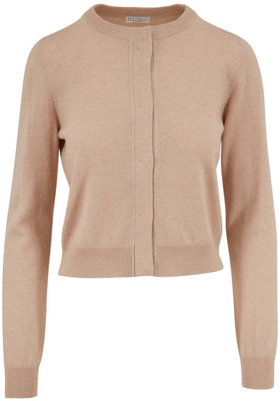 Brunello Cucinelli Almond Two Ply Cashmere Cropped Cardigan