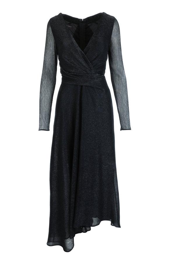 Talbot Runhof Pokario13 Black Metallic Voile Dress