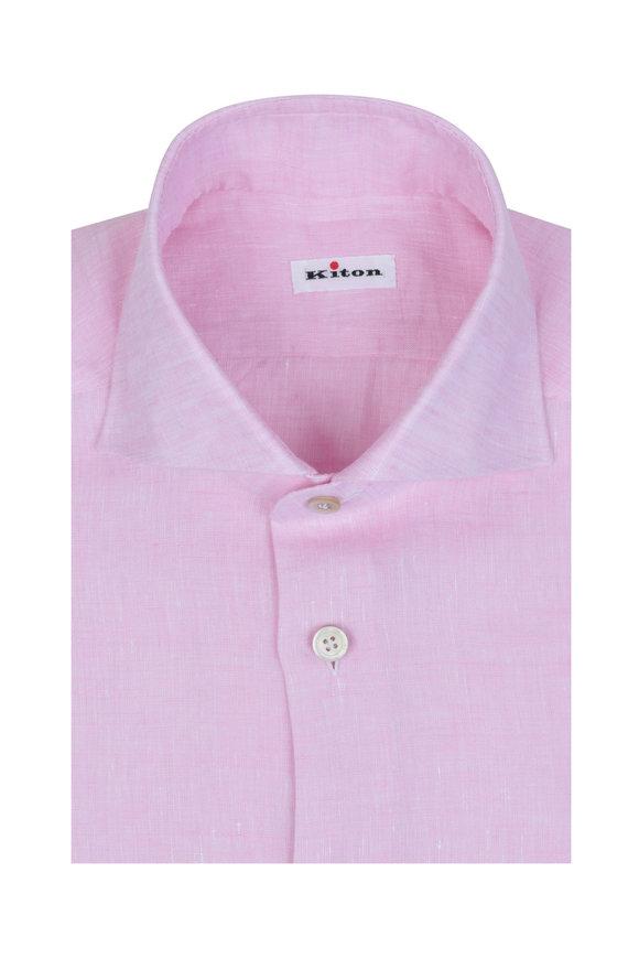 Kiton Pink Linen Sport Shirt
