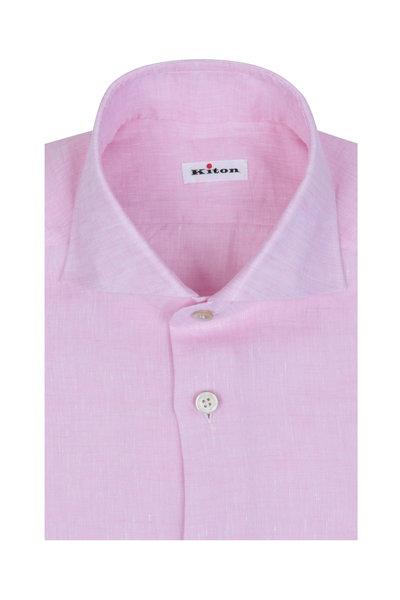 Kiton - Pink Linen Sport Shirt