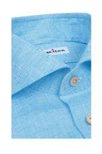 Kiton - Baby Blue Linen Sport Shirt