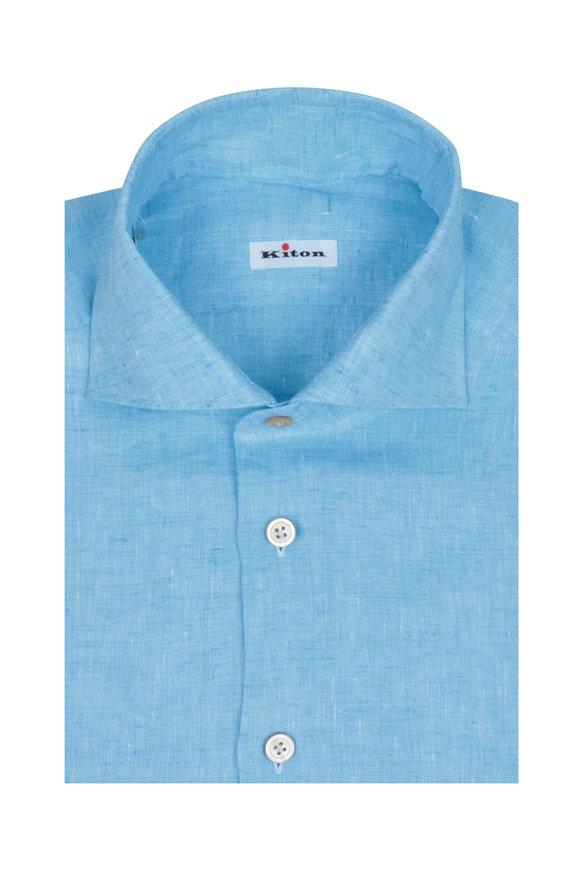 Kiton Baby Blue Linen Sport Shirt