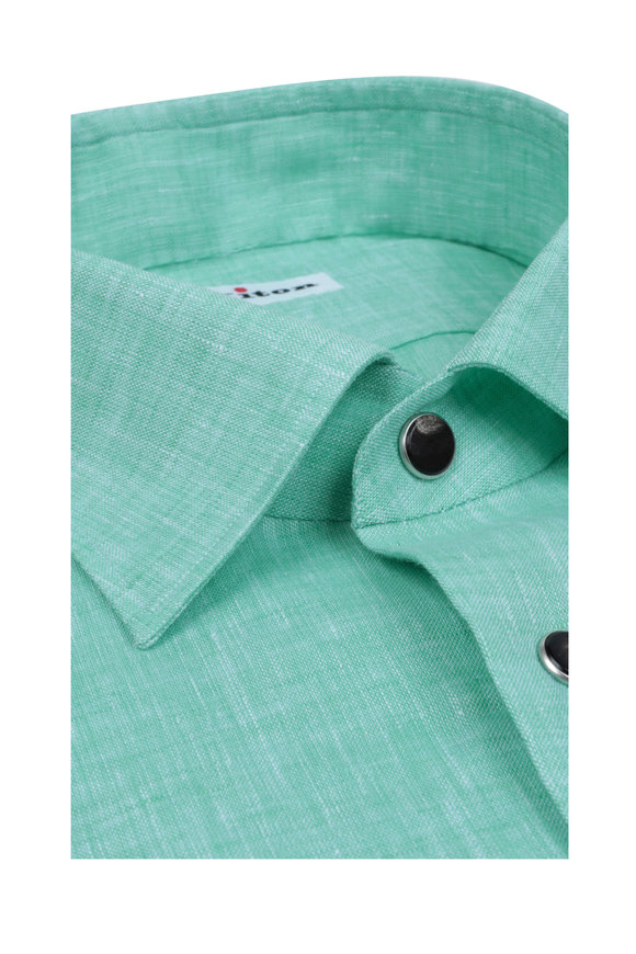 Kiton Light Green Linen Sport Shirt