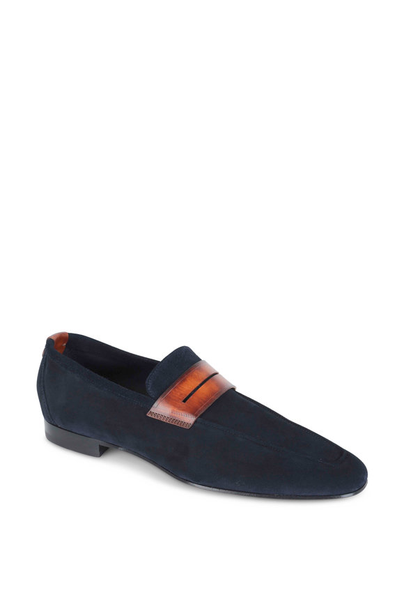 Corthay Tahiti Navy Blue Suede Penny Loafer