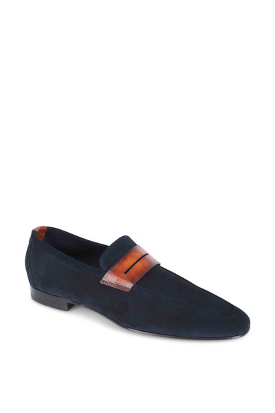 Corthay - Tahiti Navy Blue Suede Penny Loafer