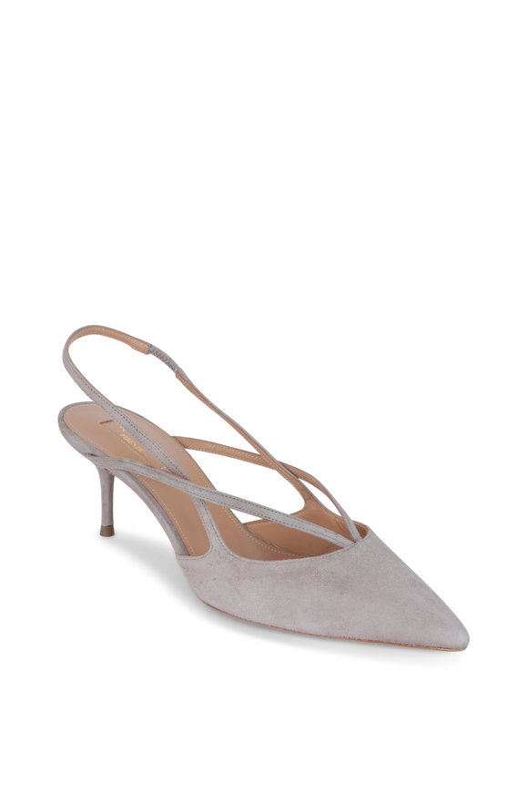 Aquazzura Soul Gray Suede Slingback, 60mm