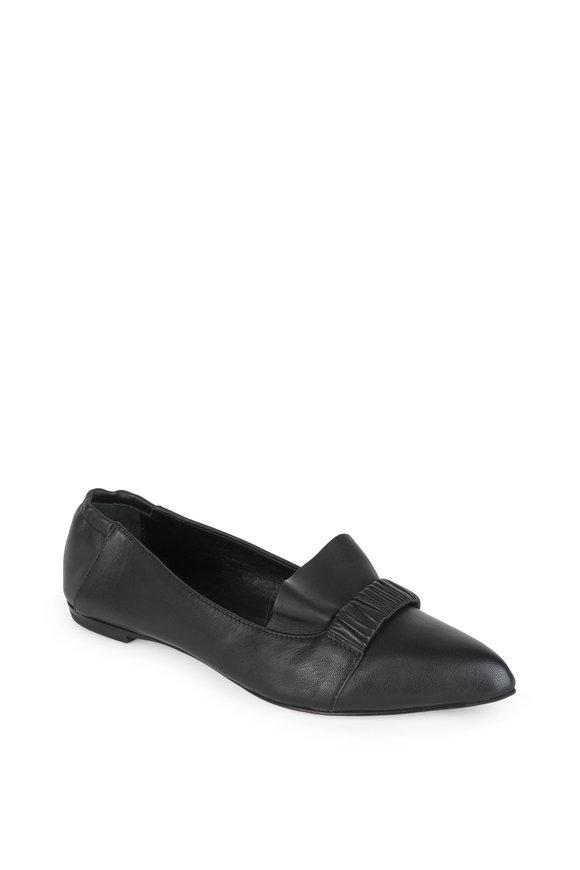 AGL Black Leather Ruffled Flat