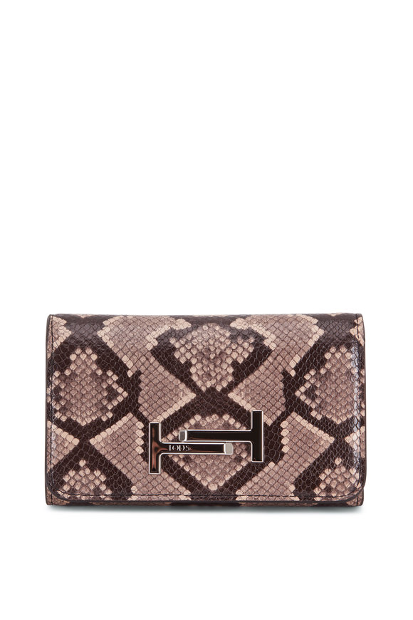 Tod's Double T Blush Python Print & Black Leather Wallet