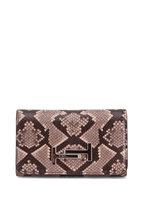 Tod's - Double T Blush Python Print & Black Leather Wallet