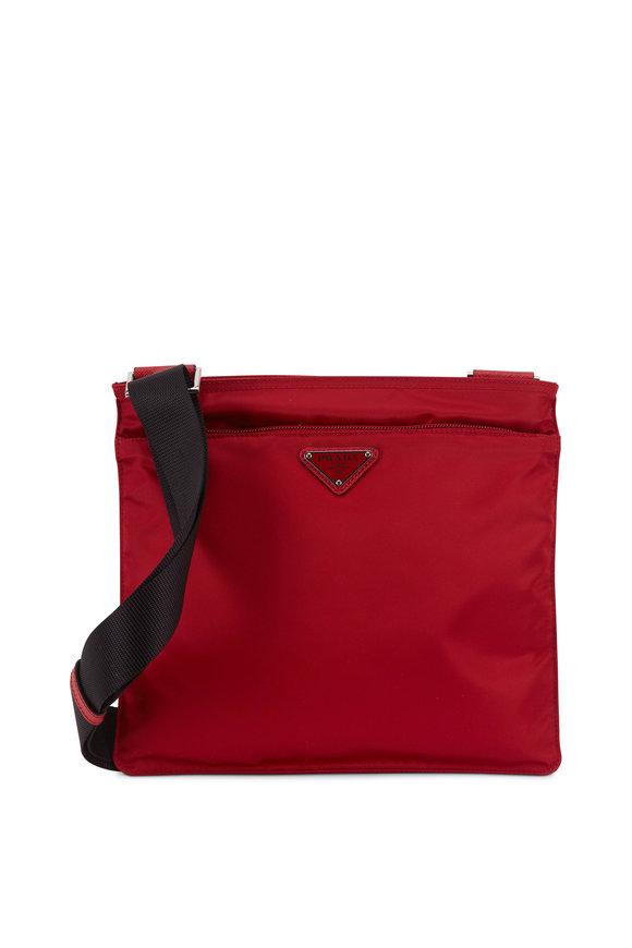 Prada Dark Red Tessuto Flat Crossbody Bag