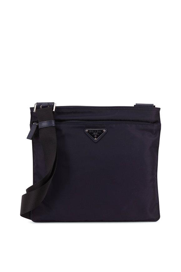 Prada Navy Blue Tessuto Flat Crossbody Bag