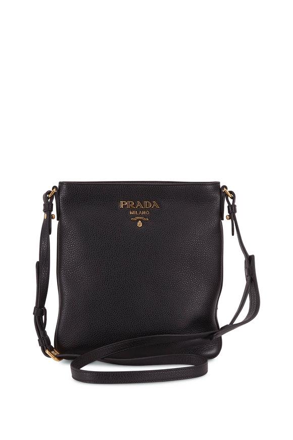 Prada Black Vitello Leather Flat Crossbody