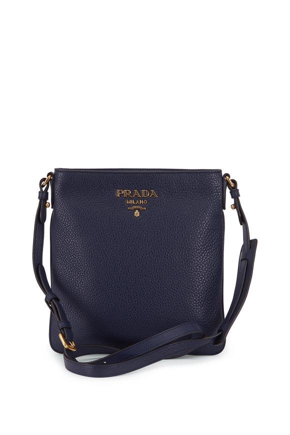 Prada Navy Blue Vitello Leather Flat Crossbody