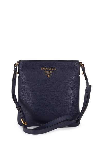 Prada - Navy Blue Vitello Leather Flat Crossbody