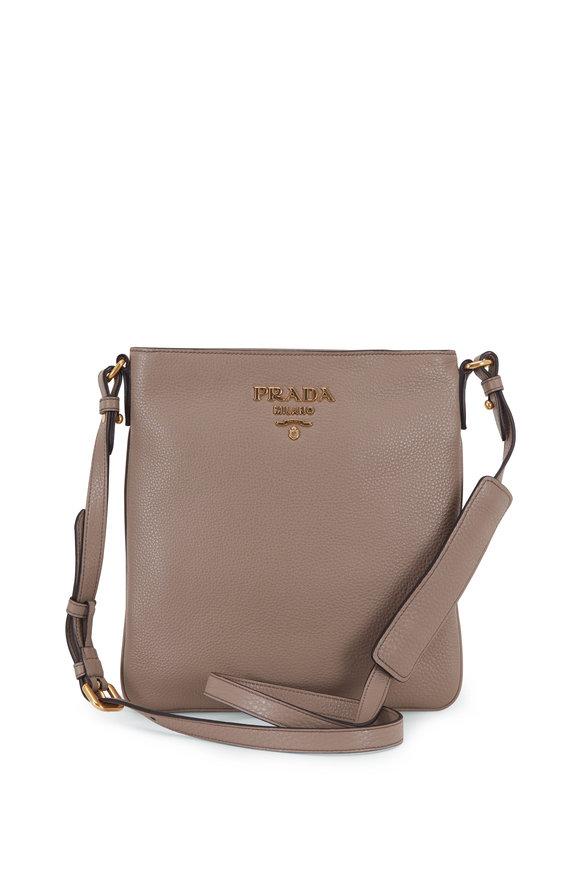 Prada Gray Vitello Leather Flat Crossbody