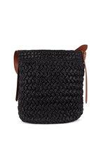 Prada - Black Raffia & Cognac Leather Large Bucket Tote