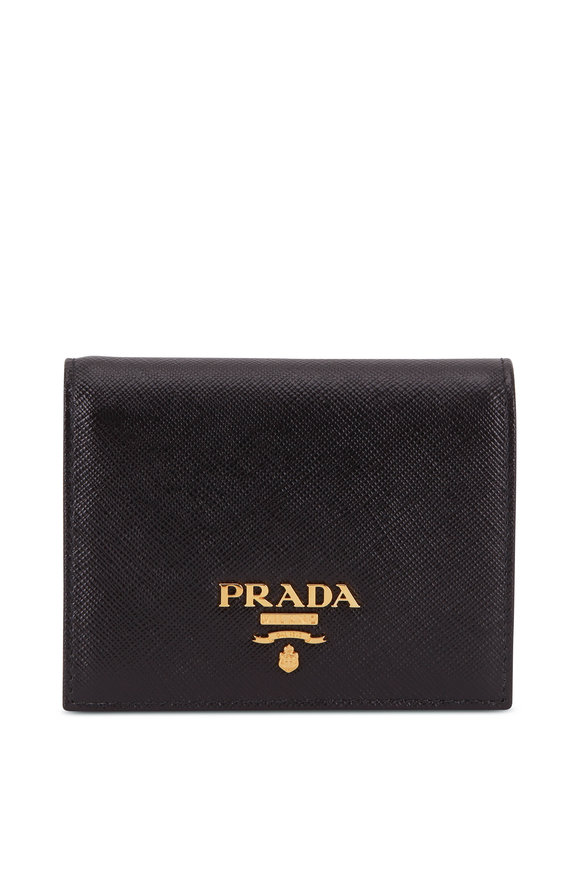 Prada Black Saffiano Leather Fold Over Wallet