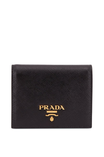 Prada - Black Saffiano Leather Fold Over Wallet