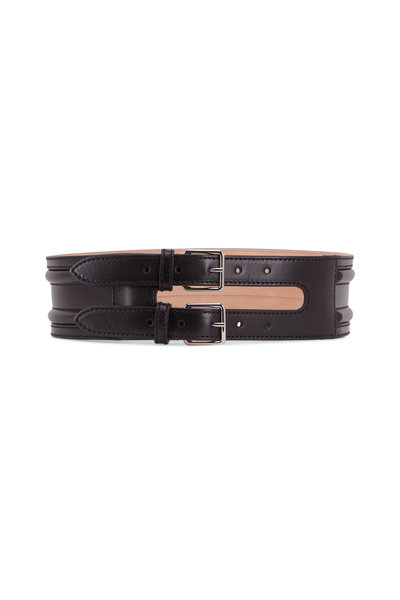 Alexander McQueen - Black Leather Wide Double-Buckle Waist Belt