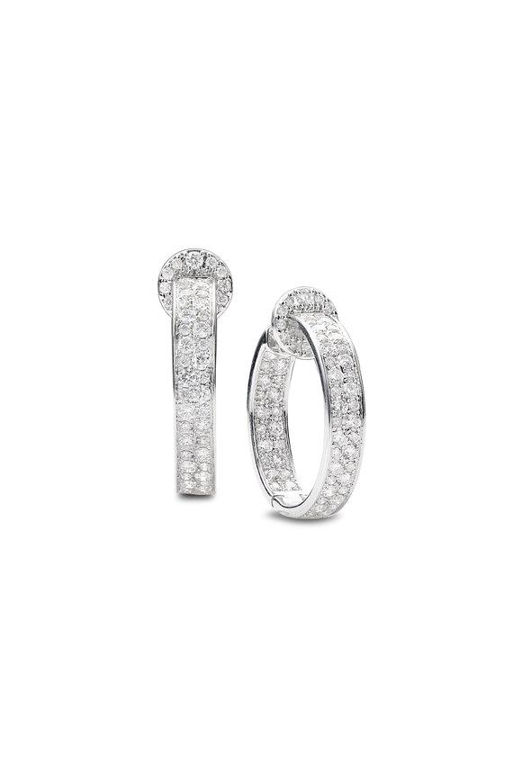 Nam Cho 18K White Gold Modern Diamond Hoop Earrings
