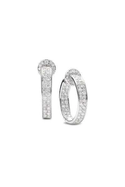 Nam Cho - 18K White Gold Modern Diamond Hoop Earrings