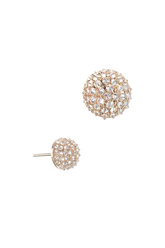 Nam Cho 18K Rose Gold Ice Diamond Stud Earrings, 10mm