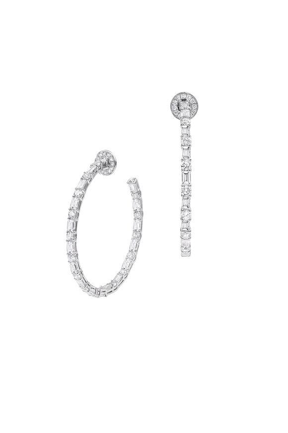 Nam Cho 18K White Gold Basic Diamond Hoop Earrings