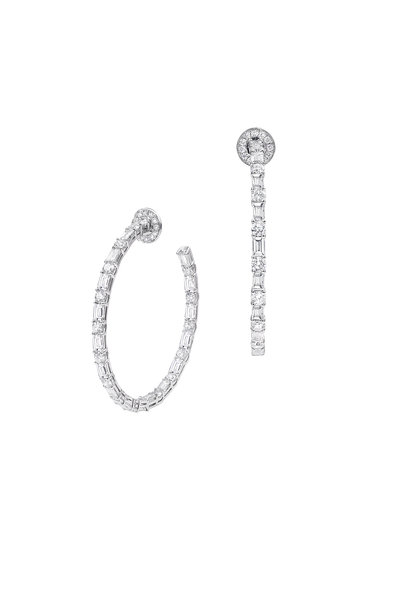 Nam Cho - 18K White Gold Basic Diamond Hoop Earrings
