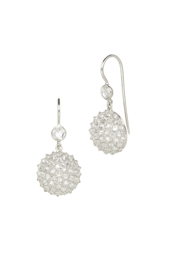 Nam Cho 18K White Gold Ice Diamond Half Ball Earrings