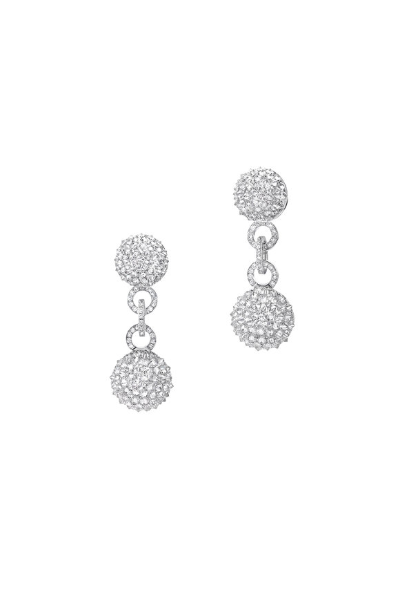 Nam Cho 18K White Gold Diamond Double Ball Drop Earrings