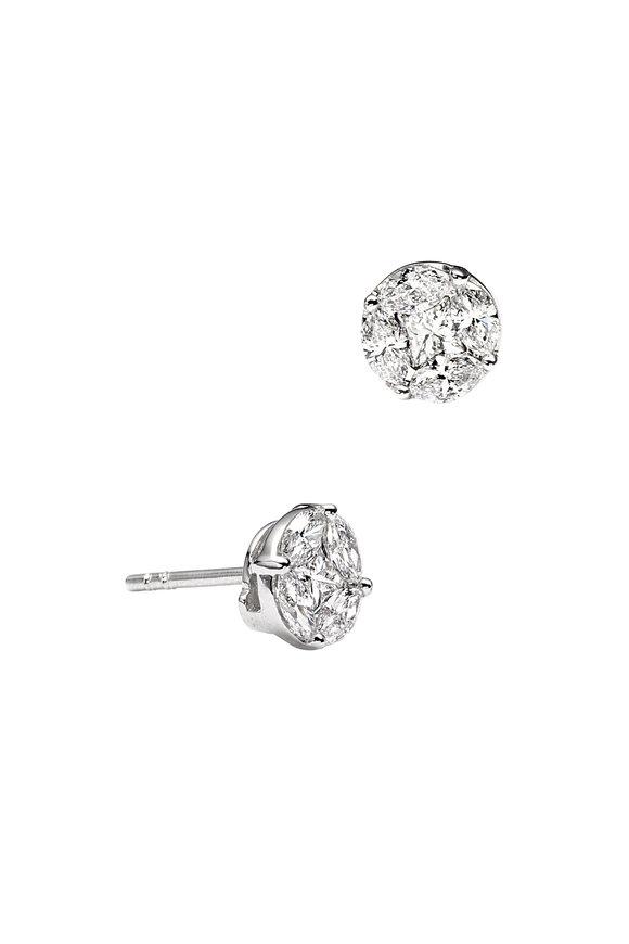 Nam Cho 18K White Gold Invisible Diamond Post Earrings