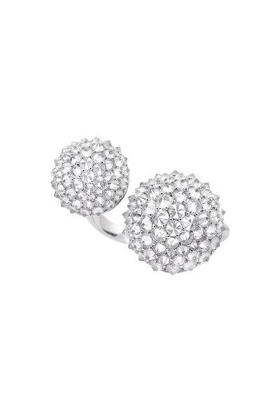 Nam Cho - 18K White Gold Ice Diamond Double Ball Ring