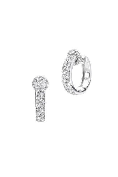 Nam Cho - 18K White Gold Two Row Diamond Hoop Earrings