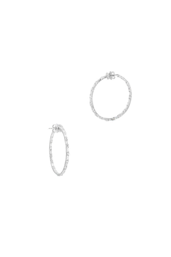 "Nam Cho 18K White Gold Diamond 2"" Hoop Earrings"