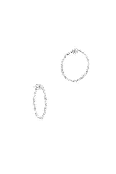 "Nam Cho - 18K White Gold Diamond 2"" Hoop Earrings"