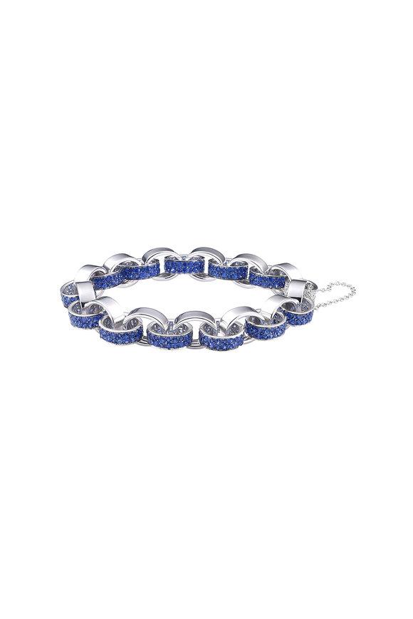 Nam Cho 18K White Gold Sapphire Modern Link Bracelet