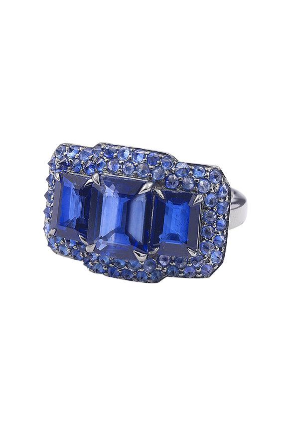 Nam Cho 18K White Gold Sapphire Spike Ring